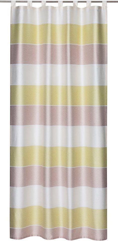 Vorhang, Elbersdrucke, »Ebeltoft«, mit Schlaufen (1 Stück) in grün