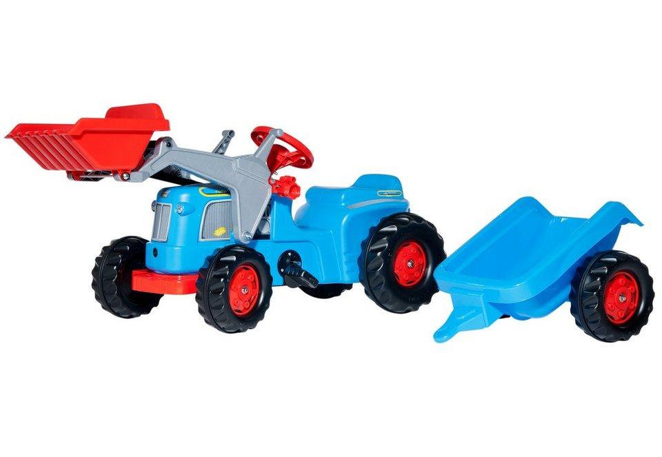 rolly toys® Trettraktor mit Frontlader und Anhänger »rollyKiddy Classic« in blau