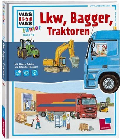 Buch mit Papp-Einband »Lkw, Bagger, Traktoren / Was ist was junior Bd.24«