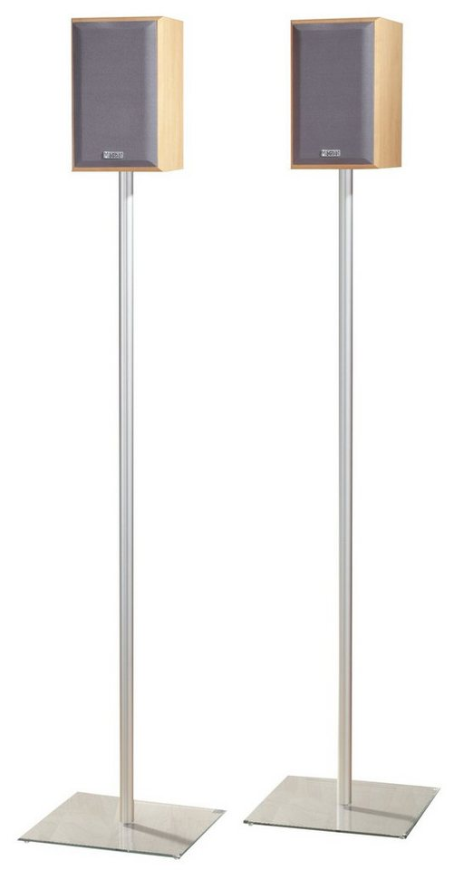 "VCM 2x Surroundstand ""Sulivo Maxi"" / Alu Halterung Glas Standfuss Bo in Klarglas"