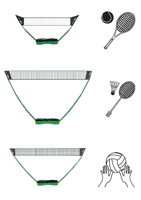 3in1 Netz, »SP-NET-031«, Sportplus, für Soft-/Fußball-Tennis, Badminton und Volleyball in Schwarz/Grün