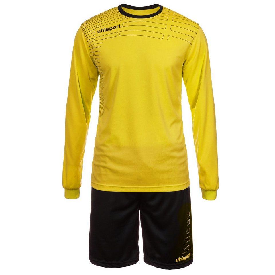 UHLSPORT Match Team Kit Longsleeve Kinder in limonen gelb/schwarz