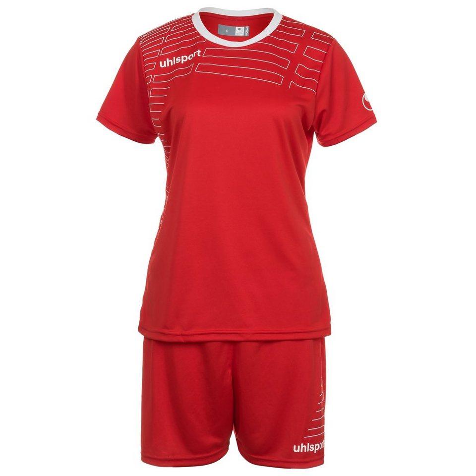 UHLSPORT Match Team Kit Shortsleeve Damen in rot/weiß