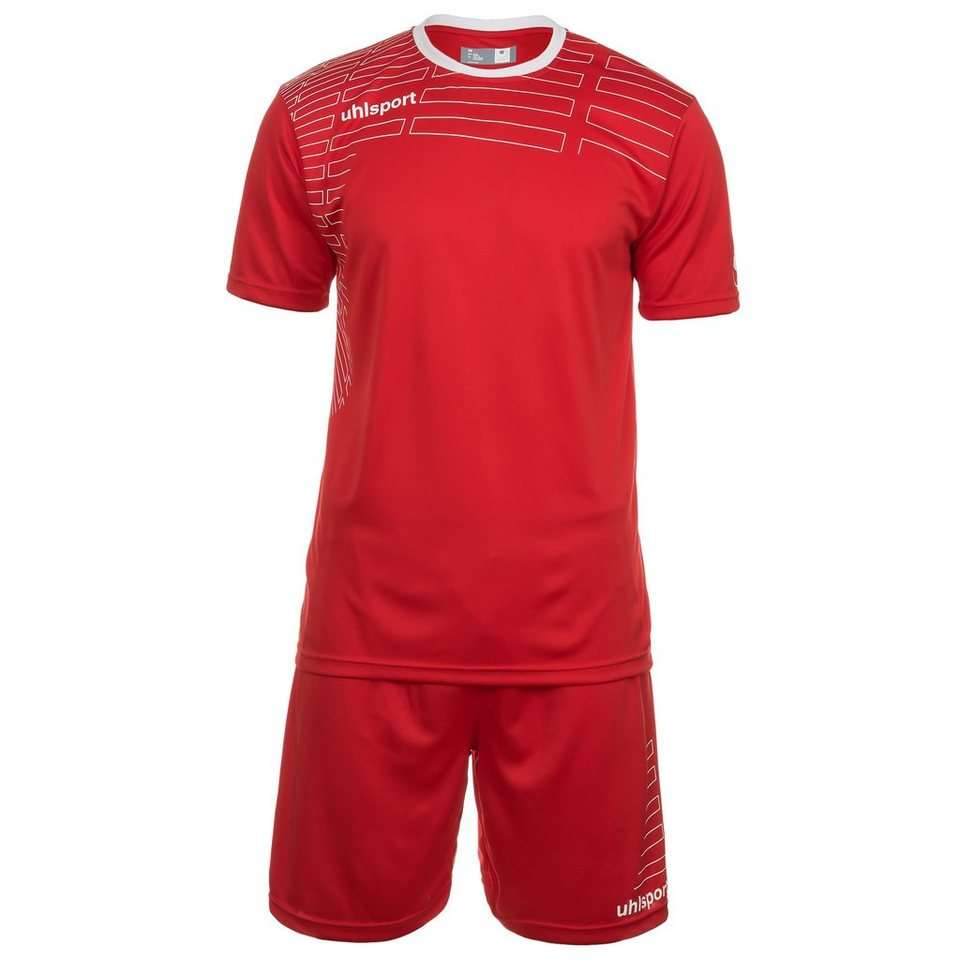 UHLSPORT Match Team Kit Shortsleeve Kinder in rot/weiß