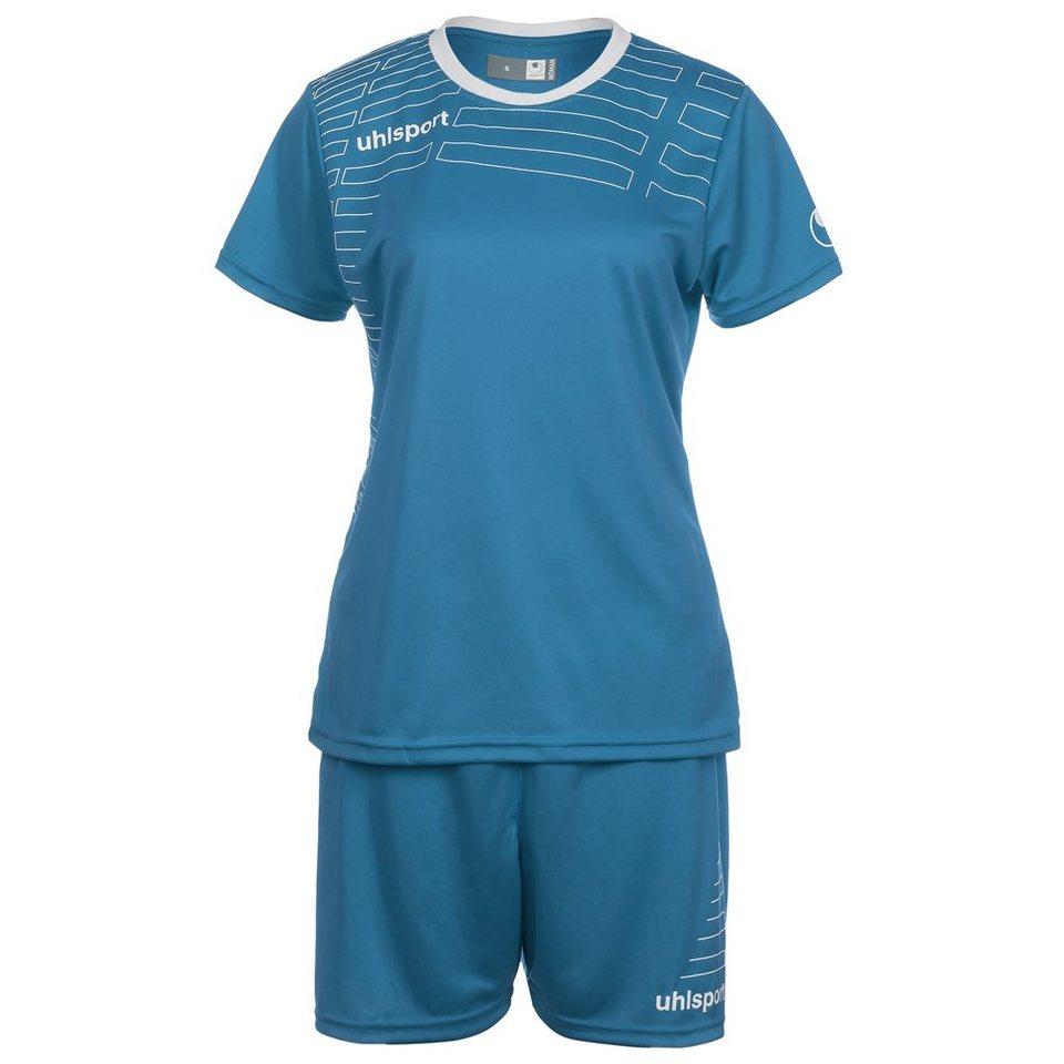 UHLSPORT Match Team Kit Shortsleeve Damen in cyan/weiß