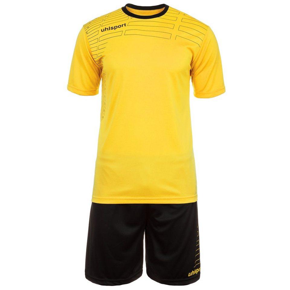 UHLSPORT Match Team Kit Shortsleeve Herren in limonengelb/schwarz