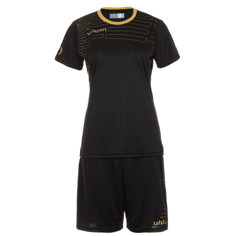 UHLSPORT Match Team Kit Shortsleeve Damen in schwarz/gold
