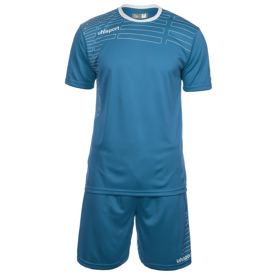 UHLSPORT Match Team Kit Shortsleeve Herren in cyan/weiß