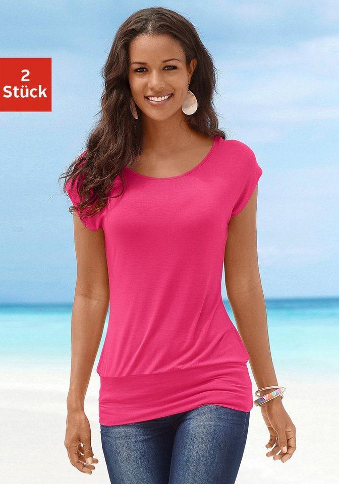 LASCANA Longshirts (2 Stück) mit breitem Bund in pink+schwarz