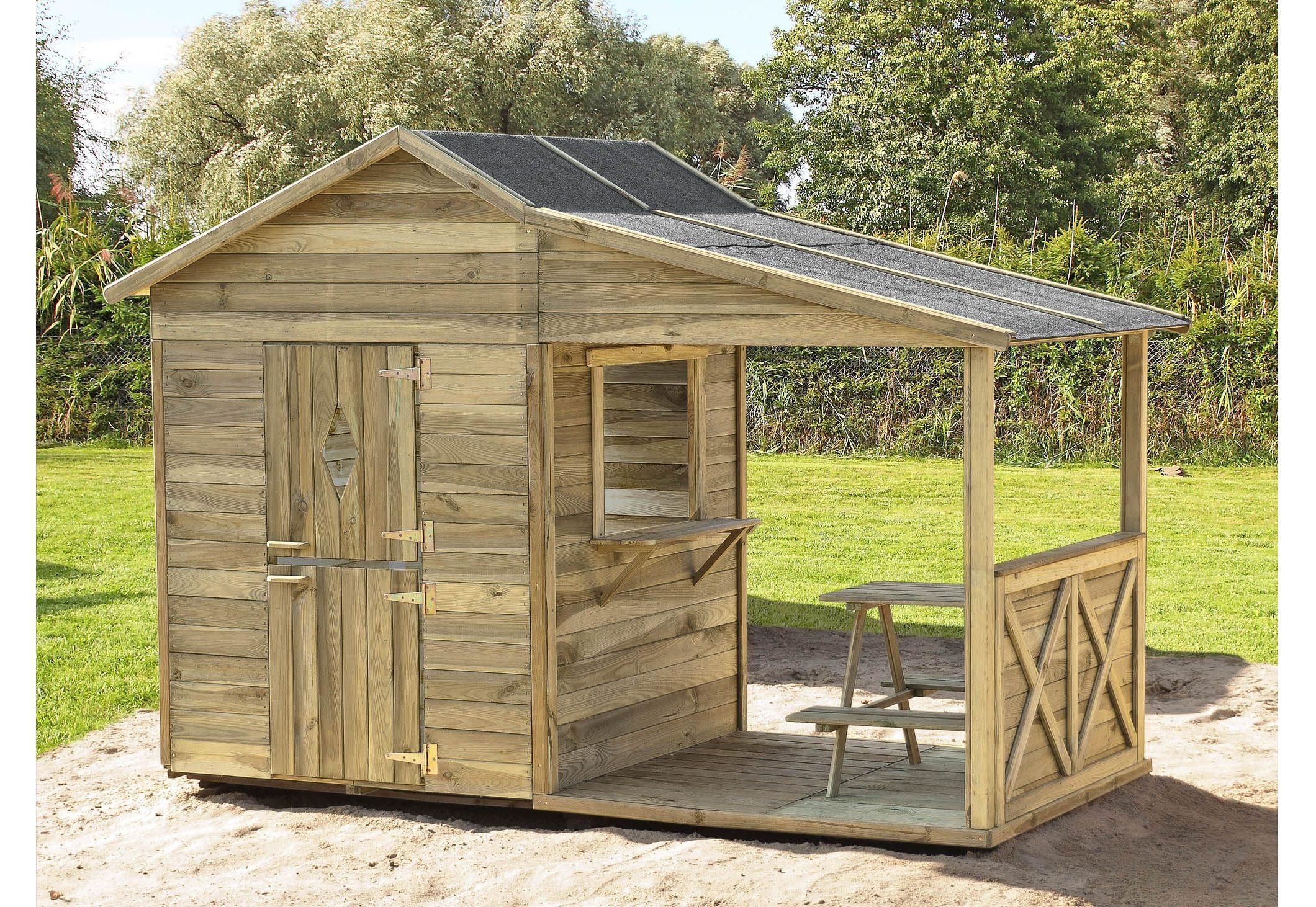 Dein Spielplatz Spielhaus aus Holz mit Terrasse »Taverne Geronimos Lodge«.