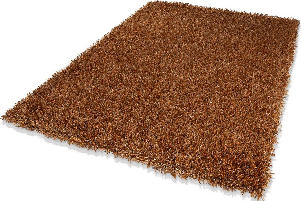Hochflor-Teppich, Dekowe, »Corado«, Höhe 40 mm, handgewebt mit Melange-Effekt in kupfer