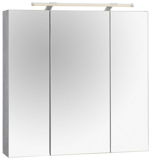 Spiegel - Schildmeyer Spiegelschrank »Dorina« Breite 80 cm, 3 türig, LED Beleuchtung, Schalter Steckdosenbox, Glaseinlegeböden, Made in Germany  - Onlineshop OTTO