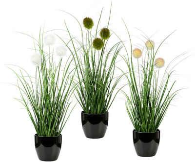 Kunstgras »Grasbusch mit Kletten«, Leonique, Höhe 35 cm, 3er-Set