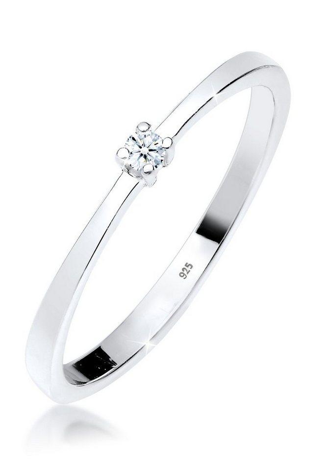 DIAMORE Ring »Verlobungsring Solitär Diamant 0.03 ct. 925 Silber« in Weiß