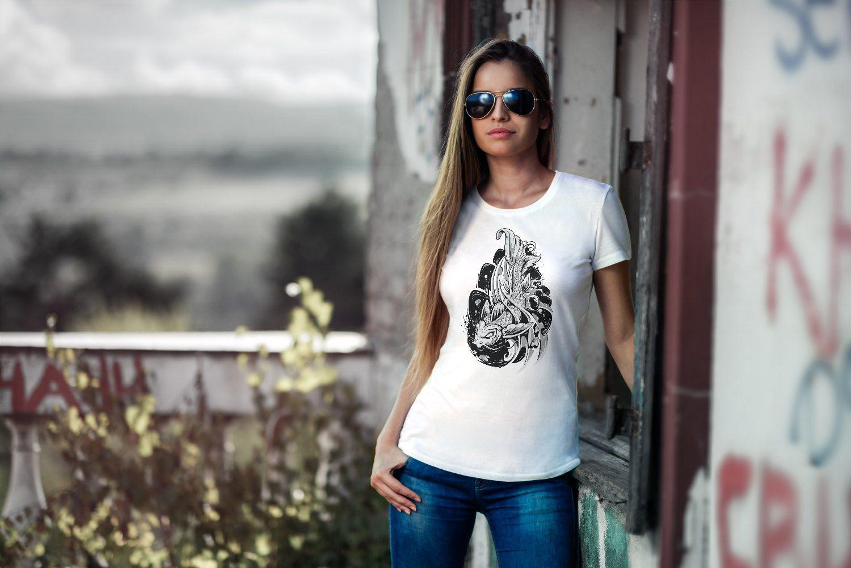 Neverless Print-shirt Damen T-shirt Koi Japan Japenese Slim Fit Tailliert Baumwolle Neverless® Mit Print Online Kaufen