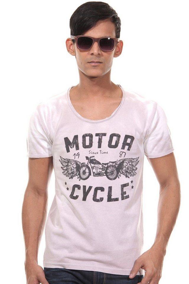 CATCH T-Shirt Rundhals slim fit in altrosa/grau