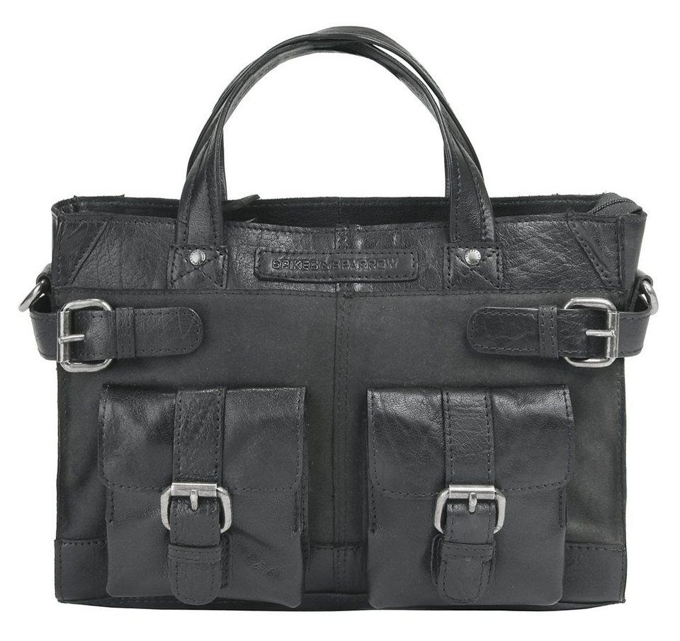 Spikes & Sparrow Leder Damen Handtasche mit Tabletfach in schwarz