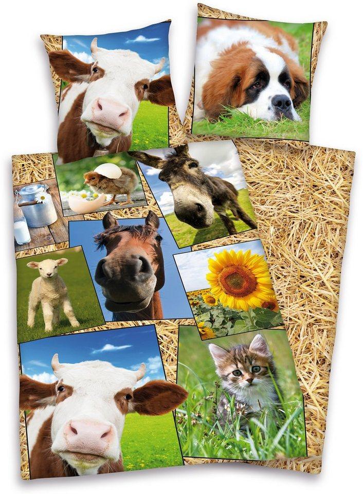 Wendebettwäsche, Young Collection, »Bauernhof«, mit Tieren in multi