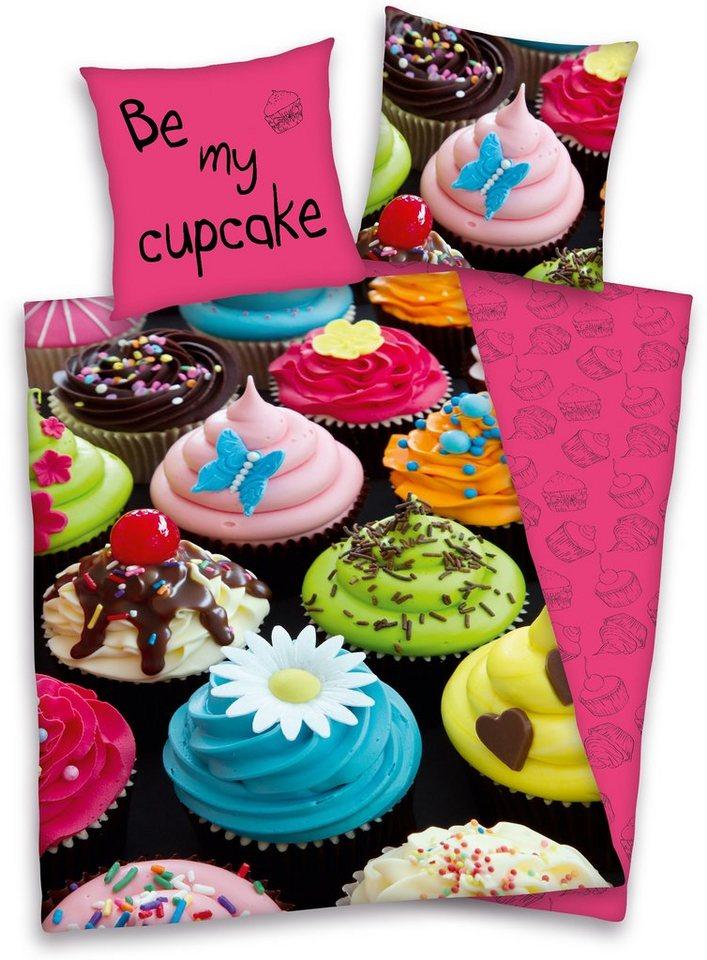 Wendebettwäsche, Young Collection, »Cupcakes«, kräftige Farben in pink