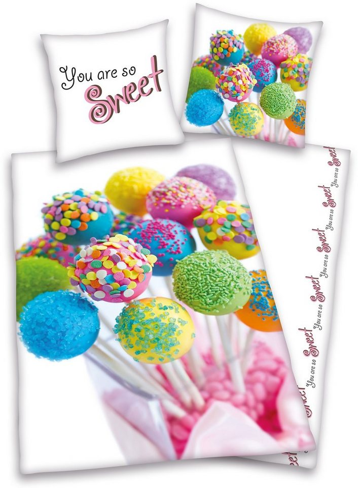 Wendebettwäsche, Young Collection, »Cake Pops«, buntes Design in multi