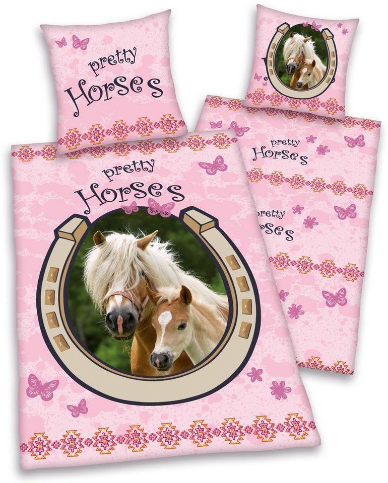 Kinderbettwäsche, Young Collection, »Pretty Horses«, für Pferdeliebhaber in rosa