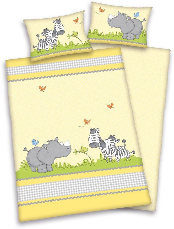 Babybettwäsche, baby best®, »Little Friends«, mit Elefant & Zebra in gelb