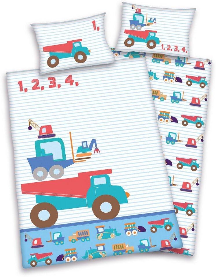 Babybettwäsche, baby best®, »Little Machines«, mit Baustellen-Fahrzeugen in hellblau