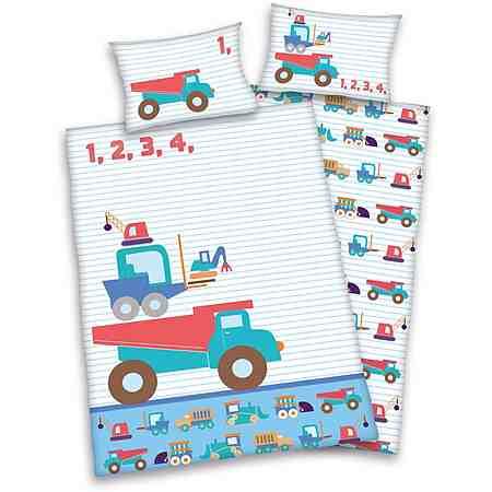 Babybettwäsche, baby best®, »Little Machines«, mit Baustellen-Fahrzeugen