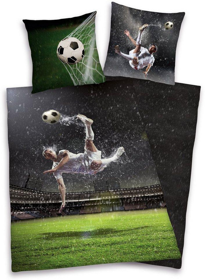 Wendebettwäsche, Young Collection, »Fußball«, für Fußballfans in schwarz