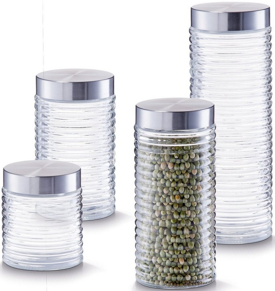 Vorratsgläser (4er Set), Zeller in glas/silber