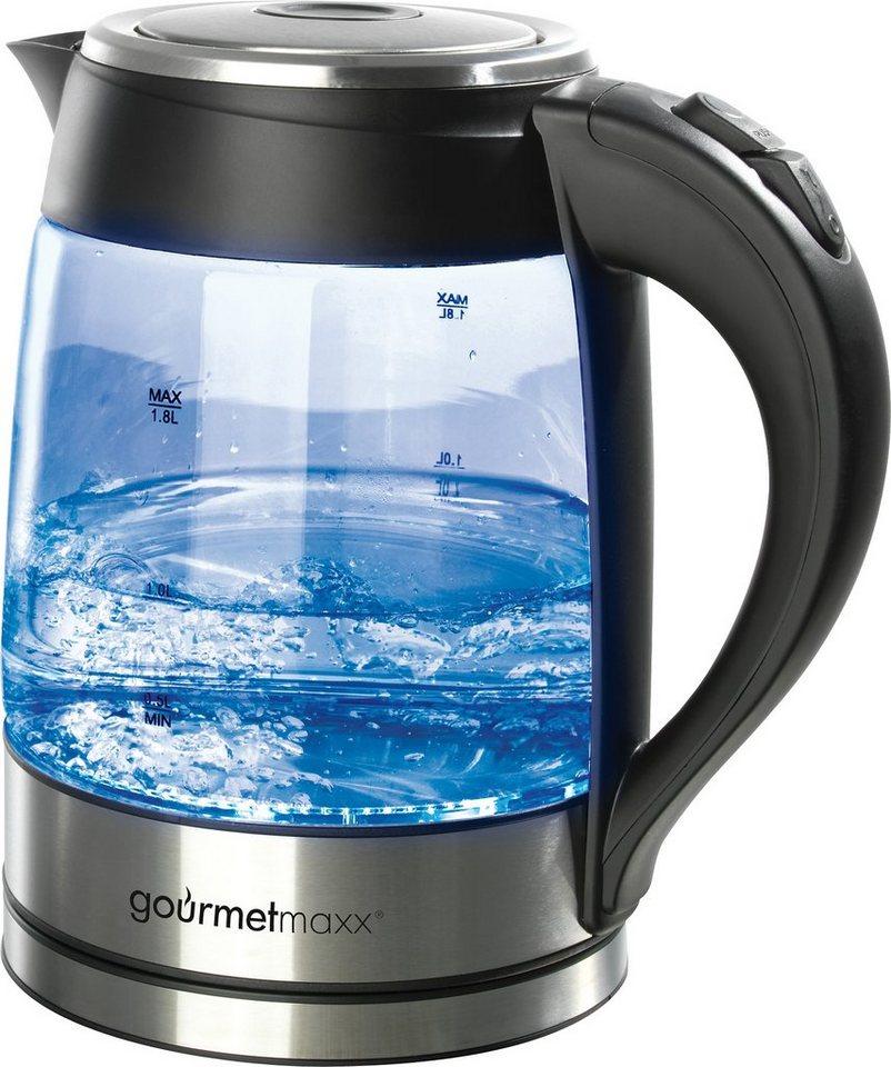 gourmetmaxx LED Glas-Wasserkocher, 1,8 Liter, 2200 Watt, schwarz in schwarz