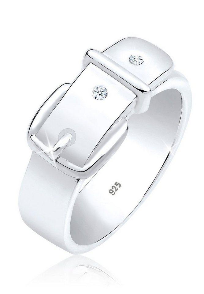 DIAMORE Ring »Gürtel Symbol Diamant 925 Silber« in Weiß