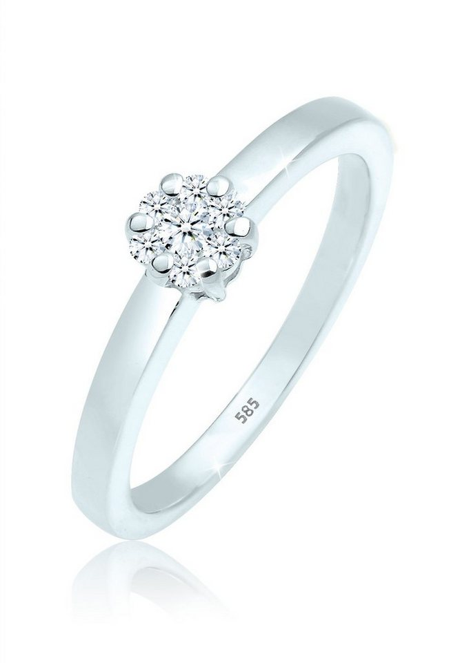 Diamore Ring »Verlobung Solitär Diamant 0.15 ct. 585 Weißgold« in Weiß