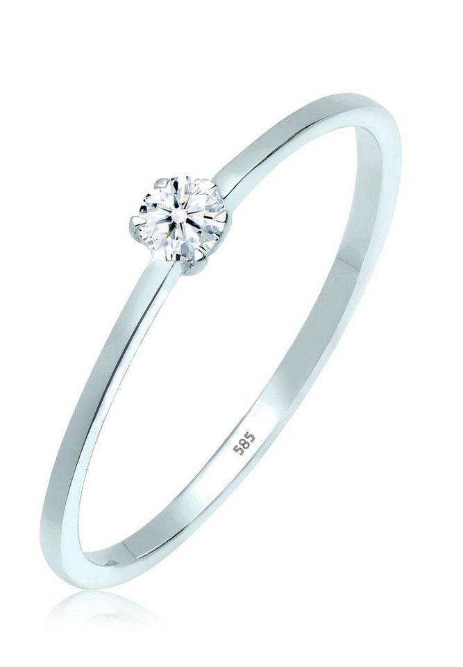 Elli Ring »Verlobungsring Diamant 0.10 ct. 585 Weißgold« in Weiß
