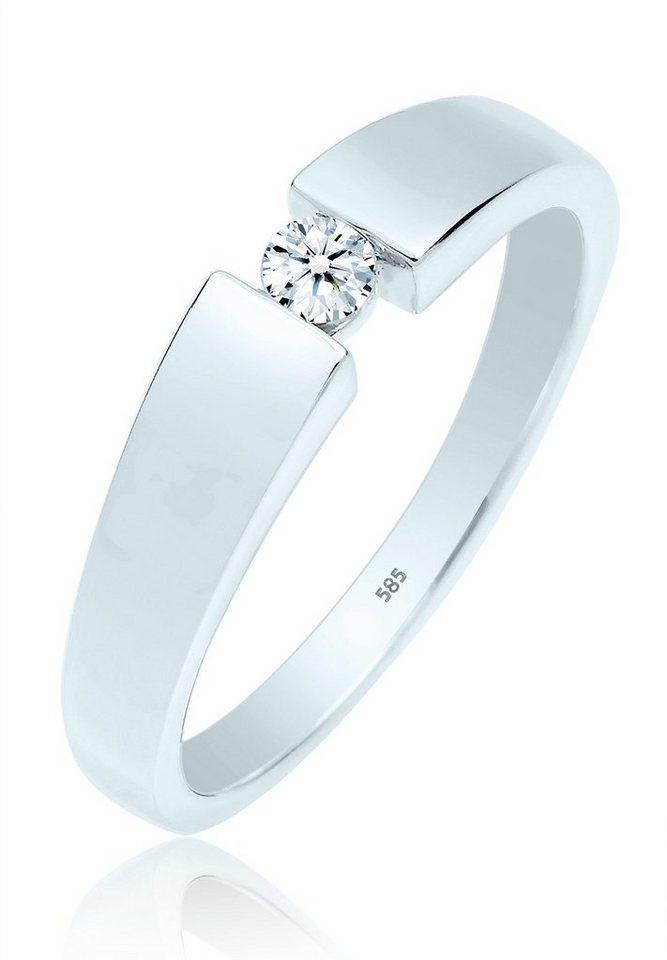 DIAMORE Ring »Verlobung Diamant 585 Weißgold« in Weiß