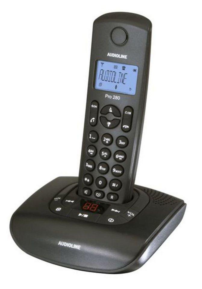 Audioline Telefon analog schnurlos »Pro 280 mit Anrufbeantworter« in Schwarz