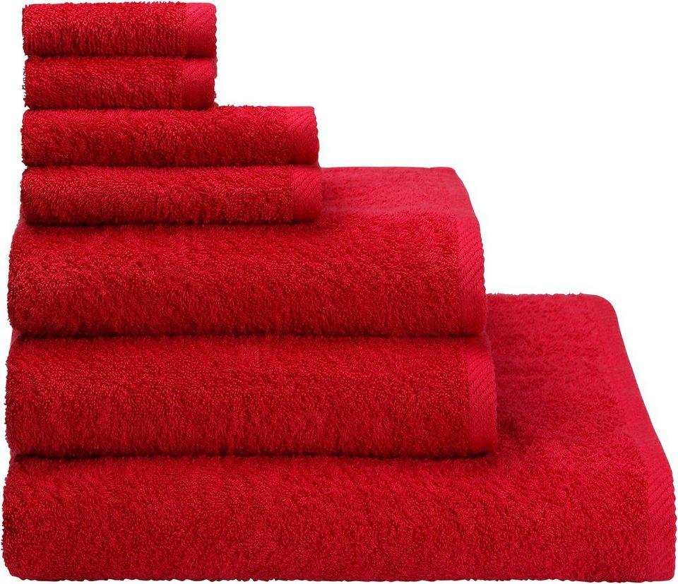 Handtuch Set, my home, »Lisa«, aus reiner Baumwolle in magenta