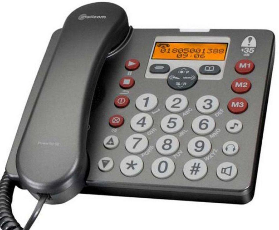 Audioline Großtastentelefon »amplicomms PowerTel 58 plus mit AB« in Grau
