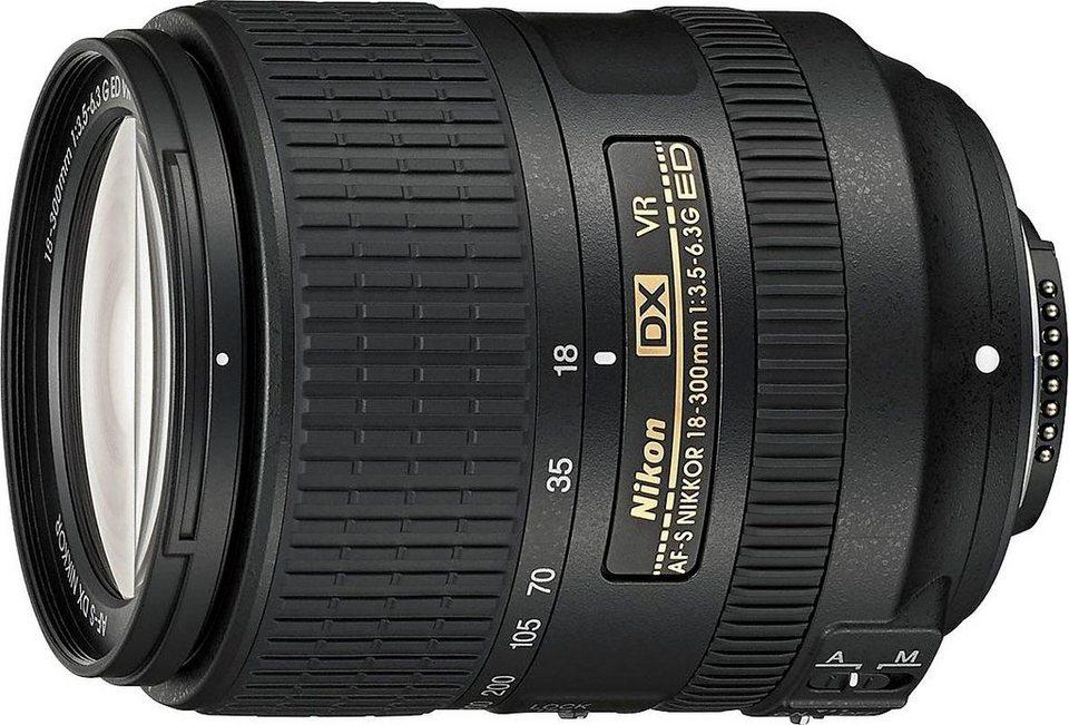 Nikon AF-S DX NIKKOR 18–300 mm 1:3,5–6,3G ED VR Standardzoom Objektiv in schwarz
