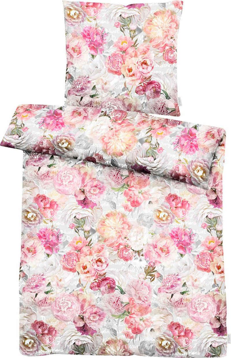 Bettwäsche »Hannah«, APELT, mit gemalte Rosen und Päonien im Aquarellstil