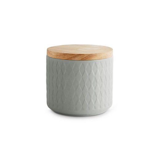 Springlane Vorratsdose »Grau«, Keramik, Kautschukholz, Silikon, (1-tlg)