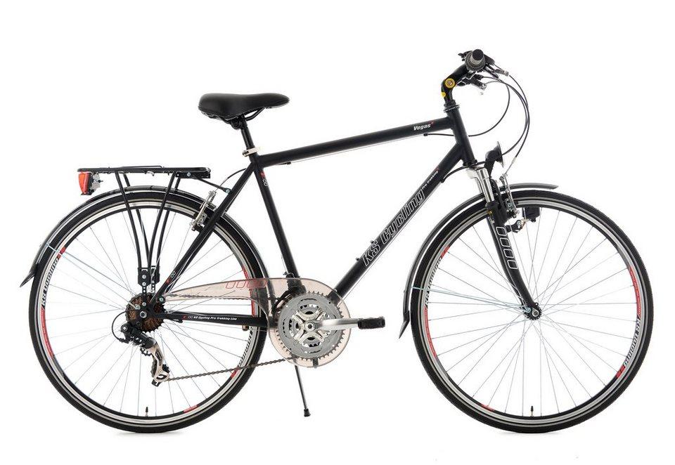 Herren Trekkingrad, 28 Zoll, schwarz, 21 Gang-Kettenschaltung, Flachlenker, »Vegas«, KS Cycling in schwarz