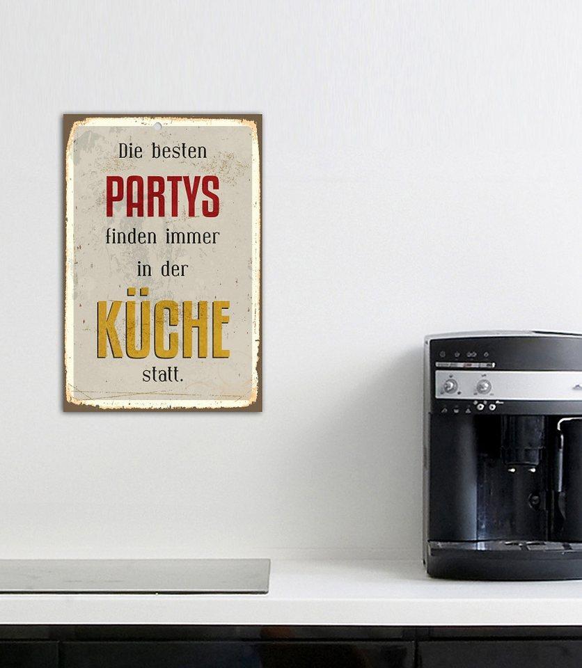 Stahlschild, Home affaire, »Die besten Partys...«, Maße (B/H): 30/45 cm in weiß/gelb