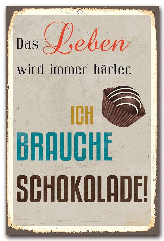 Stahlschild, Home affaire, »Das Leben wir immer härter«, Maße (B/H): 30/45 cm in weiß/bunt