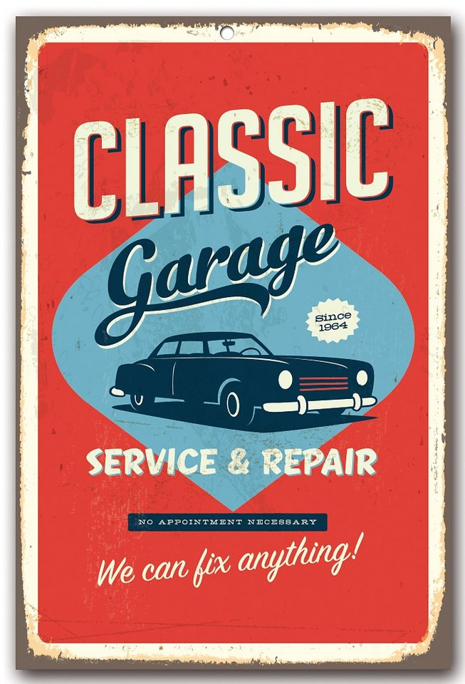 Stahlschild, Home affaire, »Classic garage«, Maße (B/H): 30/45 cm in orange/blau