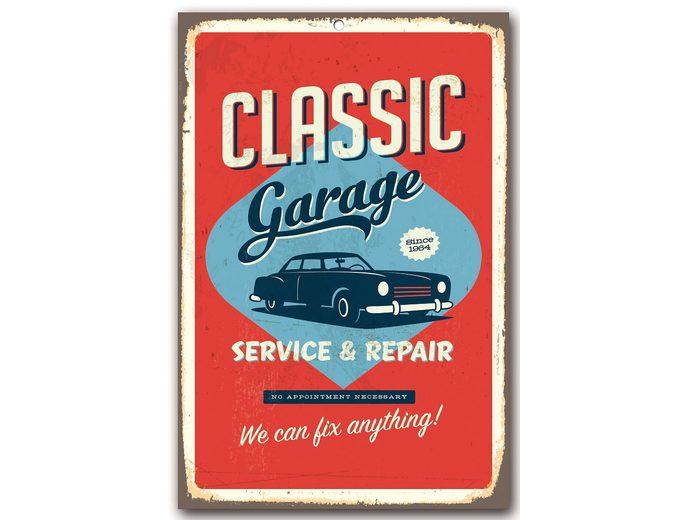 Stahlschild, Home affaire, »Classic garage«, Maße (B/H): 30/45 cm