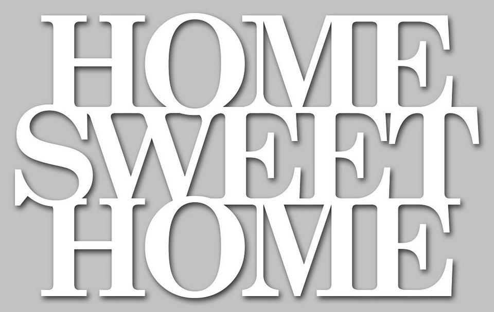 Wandobjekt, Home affaire, »Home sweet Home«, Maße (B/H): 59/38 cm in weiß