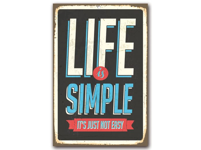 Stahlschild, Home affaire, »Life is simple«, Maße (B/H): 30/45 cm