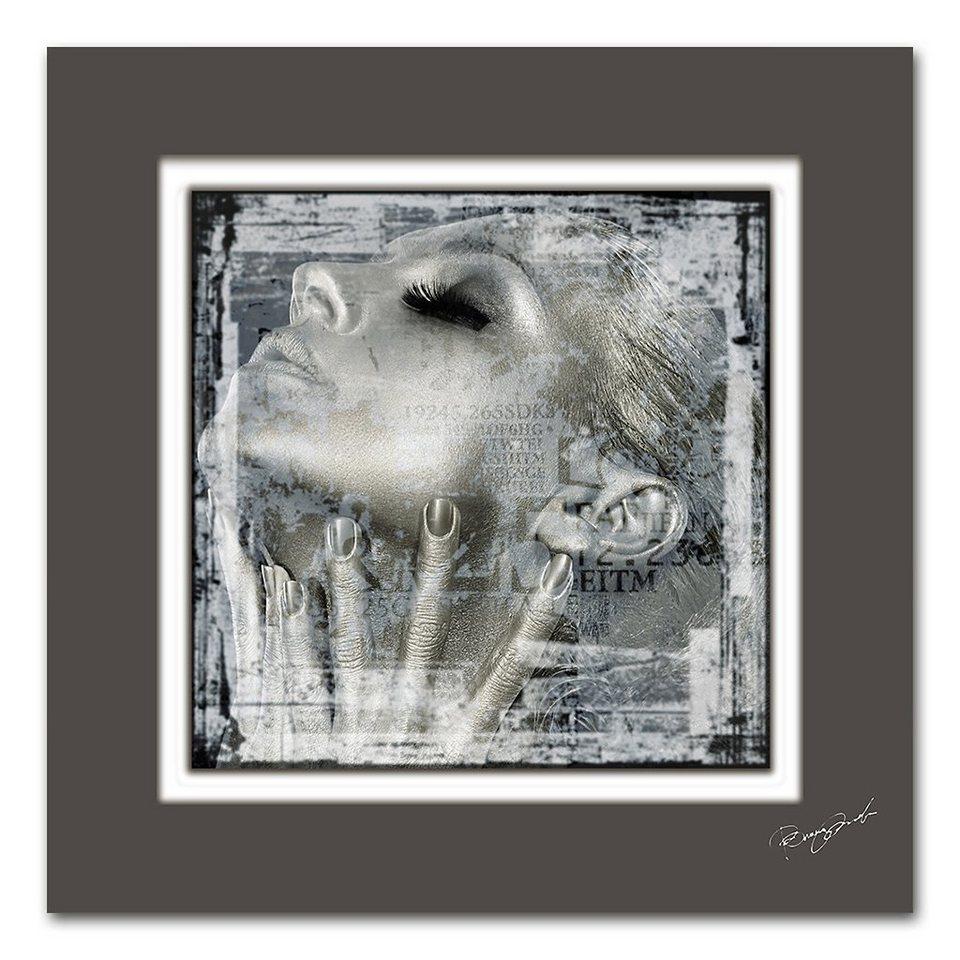 Bild, Home affaire, »Frauengesicht«, Maße (B/H): 50/50 cm in silber/gold