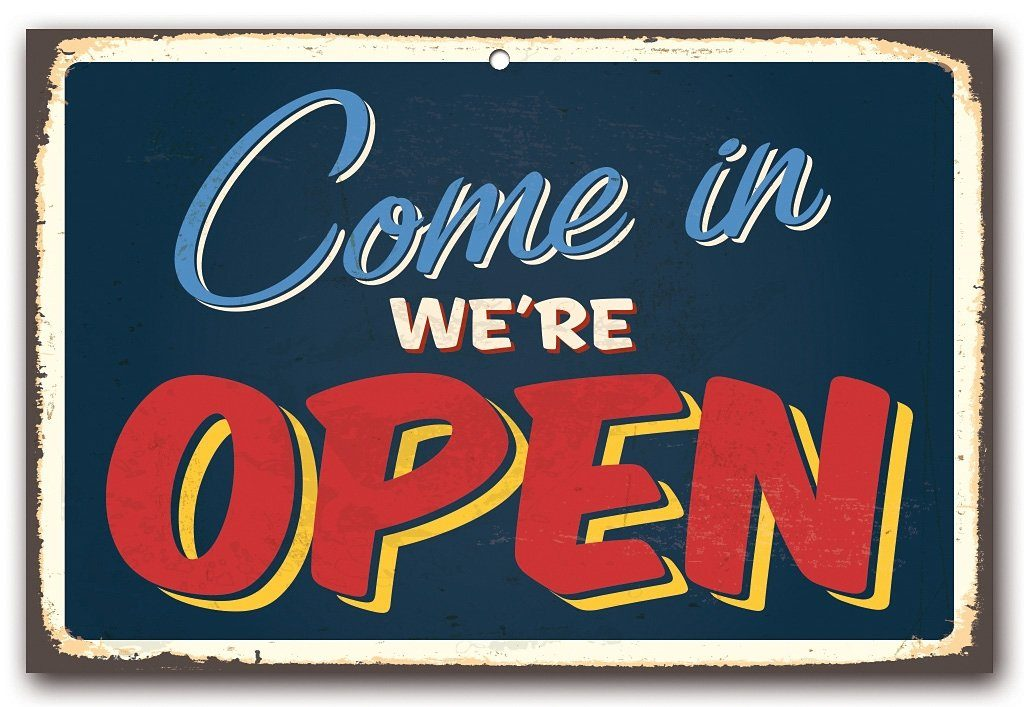 Stahlschild, Home affaire, »Come in we´re open«, Maße (B/H): 45/30 cm